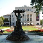 Latvian National Opera - front view with a fountain, Riga, Latvia