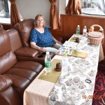 Seating inside our ship going on the Li river cruise