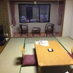 This is a standard Japanese room, with futon bedding that replaces the table and chairs at night