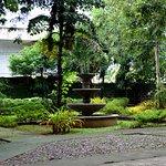 Garden and fountain inside Plaza Cuartel