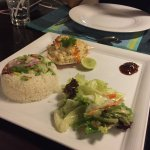 Steam rice with grab meat salad