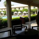 Coffee in tyhe courtyard.