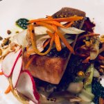Salmon special. Beautiful presentation and delicious.