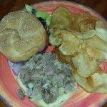 Smoked Pork Sandwich with Homemade Potato Chips