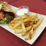Kofte in Pita. Cacik and fries.