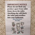 Funny sign over the toilet