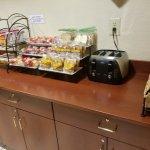 Breakfast room, hair dryer, soaps, etc.