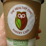 My takeaway cup of delicious fair trade coffee with almond milk!