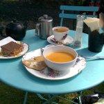 Tea, choc cake and Sweet Thai soup in the sunshine.