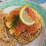 Super tasty scrambled egg and salmon on toast