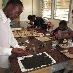 Lino printing at Bagamoyo Art College, Tanzania