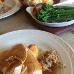 Roast turkey, roast potatoes, roast parsnip, stuffing, cauliflower cheese and 5 other veg
