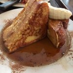 Stuffed Challah French Toast; cream cheese, bananas & honey, topped with vanilla bean syrup