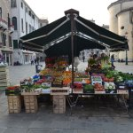 Produce stand on palazzo outside hotel