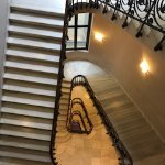 Gorgeous staircase at the back. A feat of engineering and design