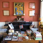 The communal living room full of wonderful books, art, and many fascinating objects.