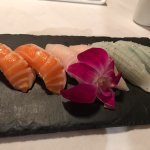 salmon belly, yellowtail belly and squid