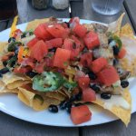 blackened tuna nachos with watermelon pico