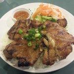 Half Lemongrass Chicken and Pork on rice