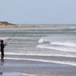 Surf-casting in strong wind
