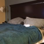 Covered Hampton bed - protect white duvet cover and pillows.