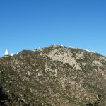 View of a number of telescopes heading up to Kitt Peak