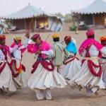 Holi Festival Gair Dance at Samsara Desert Camp & Resort, Dechu, Jodhpur