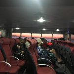 Plenty of seating, sunrise on one side of the boat.
