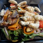 Delicious calamari dish at Frogs restaurant, Kuranda