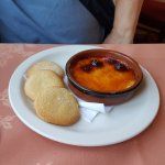 Blackberry creme brulee with shortbread