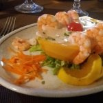 Prawns on papaya