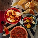 All Together Now! Spicy Mixed Olives, Red Pepper Dip, Hummus with PERi-PERi Drizzle and Pita Str