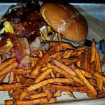 Brisket Burger with sweet potato fries