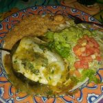 Chile Cancun - stuffed with small grilled shrimp, vegs, cheese etc