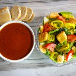 Pick Two: Featuring Tomato Basil Bisque and a Garden Chop Salad.