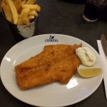 Breaded Haddock with chips and tartar sauce
