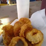 Small order of onion rings with horseradish sauce