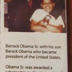 Small display on Barrack Obama and his father.