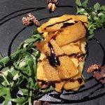 Vegan starter - roasted butternut squash on truffle polenta :) mmm!