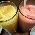 Mango and Strawberry Lassi made with fresh buffalos milk