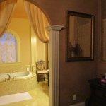 Bathroom is pure glamor. Big shower, gleaming marble, stunning