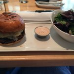 Merchant Burger with side salad