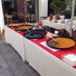 Paella by the pool