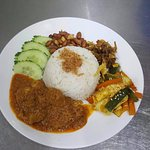 Nasi Lemak Coconut Rice and Curry Chicken