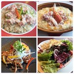 Clockwise from top-left: crab pilaf, crab gratin, Japanese salad, soft-shell crab.