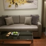 Sofa beside your bed. Welcoming apples or mangoes for you.