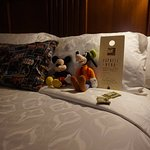 Turndown service, they even tucked in the stuffed animals