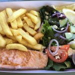 Grilled Salmon, salad & chips