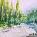 Painting of Ashley River, just a few steps from Ashley Gorge Holiday Park (by Anne (Anica) Amphl