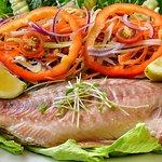 Wonderful in house smoked barramundi salad
